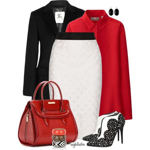 Đối với bạn gái văn phòng, cách bổ sung gam đỏ tươi cho set trang phục trắng đen sẽ giúp họ trở nên nổi bật và ấn tượng hơn.
