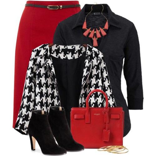"""Sử dụng trang phục in hoạ tiết cũng là cách """"cải tiến"""" công thức dùng màu đỏ, trắng, đen trong việc mix trang phục."""