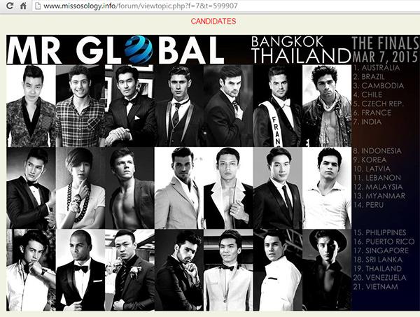 Mister Global 2015 được đăng tải thông tin trên diễn đàn của Missosology.