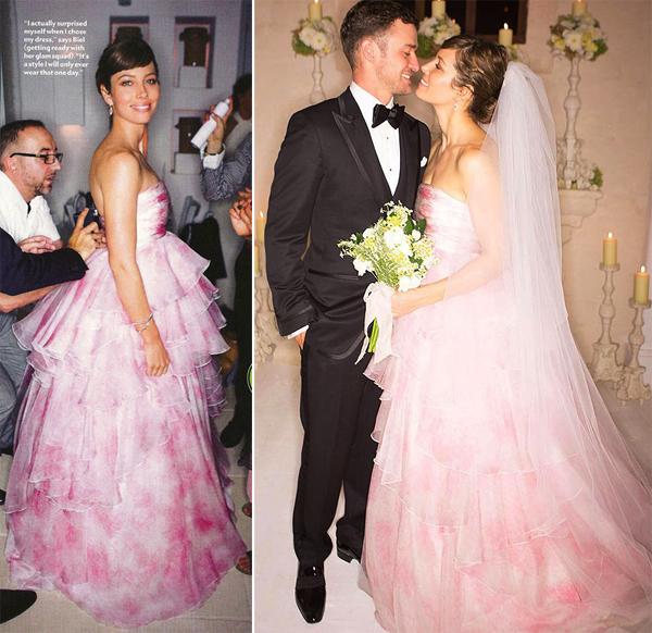 Váy cưới hồng pastel lấy cảm hứng từ sao thế giới