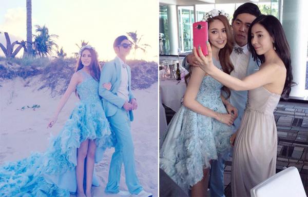 Váy cưới sắc xanh dịu mát như cô dâu Côn Lăng