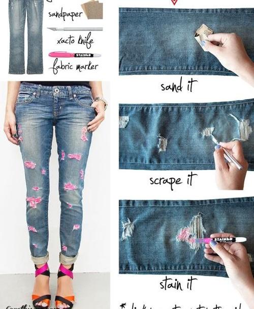 Thêm điểm nhấn sắc màu cho mẫu quần jean rách của bạn bằng việc sử dụng bút lông chuyên dụng nhiều sắc màu để tô đậm cho phần sợi jean rách.