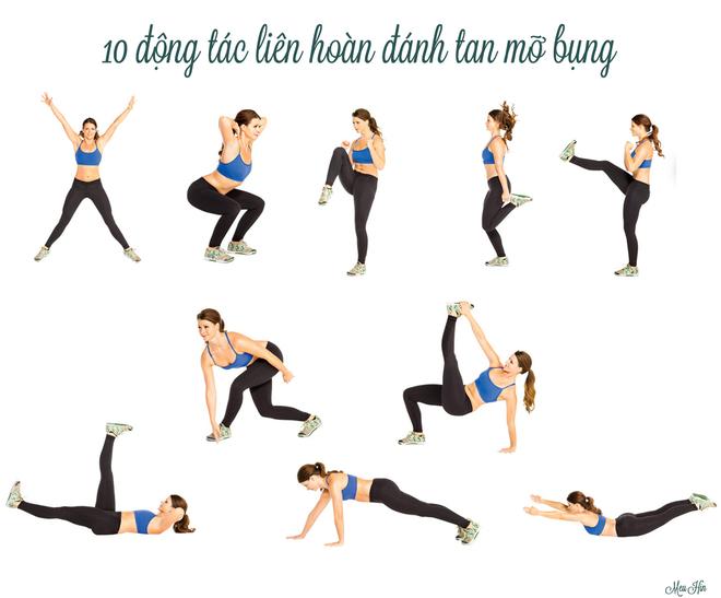Gọi ý 10 động tác liên hoàn đánh tan mỡ bụng
