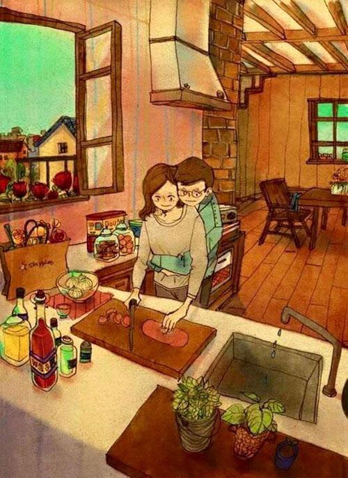 Cuộc sống vợ chồng qua tranh khiến ai cũng ao ước