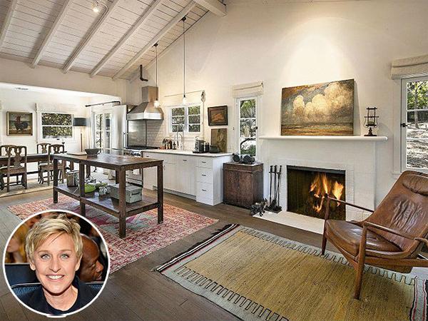 Trang trại hơn 100.000 m2 của nữ MC nổi tiếng Ellen DeGeneres và bạn  đời đồng giới ở Thousand Oaks, California có gian bếp đơn giản mà ấm   cúng với lò sưởi truyền thống.