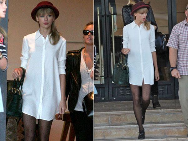 Công chúa nhạc đồng quê Taylor Swift mát mẻ với style không quần.