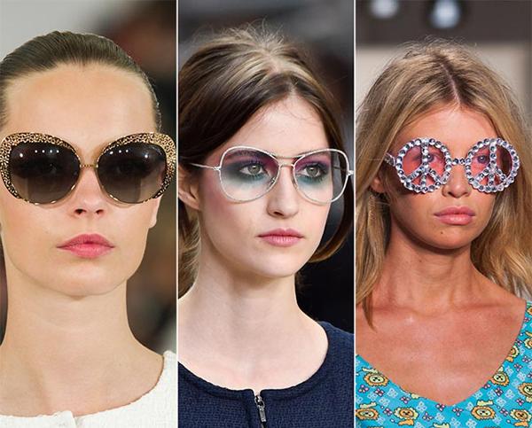 Những mẫu kính to bản và được trang trí cầu kì với họa tiết lấp lánh bởi pha lê và đá quý tiếp tục được giới thiệu ở mùa thời trang mới.