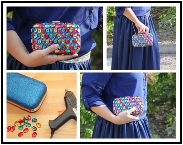 """Hạt pha lê nhiều sắc màu và súng bắn keo sẽ giúp bạn bao phủ một lớp """"đá quý"""" óng ánh trên mẫu ví cầm tay nhỏ xinh."""