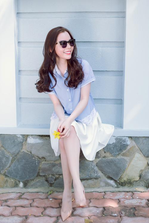 Mặc đẹp ngày hè với tông màu trắng xanh thanh nhã 3