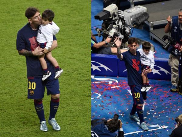 Messi bé cậu con trai đầu lòng Thiago ra sân.