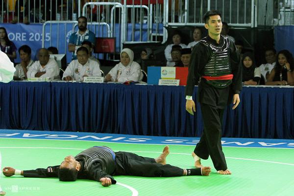 Trong trận chung kết pencak silat hạng cân từ 55kg đến 60kg hôm 14/6,