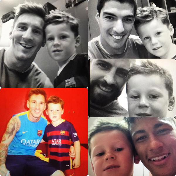 Con trai Rooney chụp ảnh với loạt sao Barca