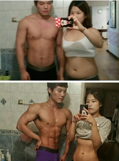 Cặp đôi Hàn Quốc giảm 34 kg trong 4 tháng