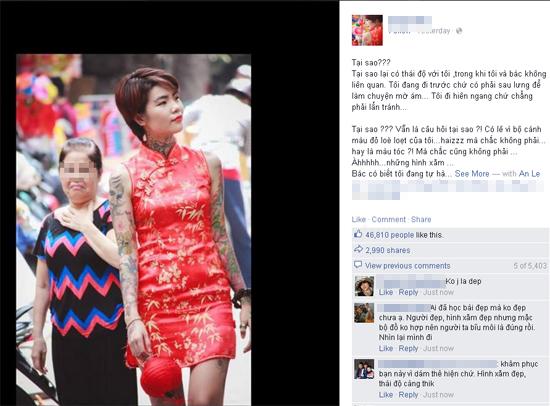 Facebooker tranh luận về cô gái xăm mình bị người lớn dè bỉu