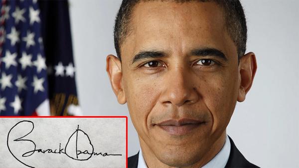 [Caption]Chữ ký cầu kỳ, đẹp mắt của Tổng thống Mỹ Barack Obama - tổng thống thứ 44 của quốc gia này.