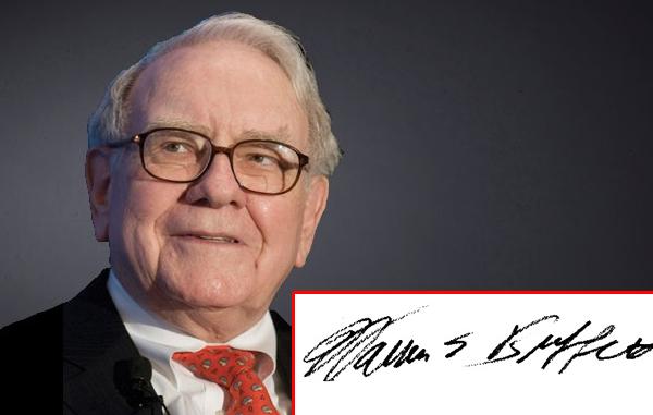 Chữ ký của tỷ phú người Mỹ Warren Buffett chỉn chu, cẩn thận. Ông sinh năm 1930, thuộc mệnh Thổ.