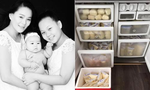Nuôi con 8 tháng, Trang Nhi tặng được 10 thùng sữa mẹ
