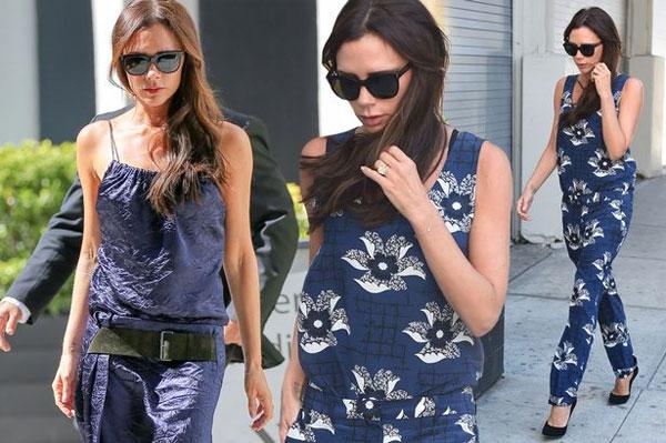 Vic với những bộ trang phục gây chú ý khi xuống phố ở New York, hôm qua.