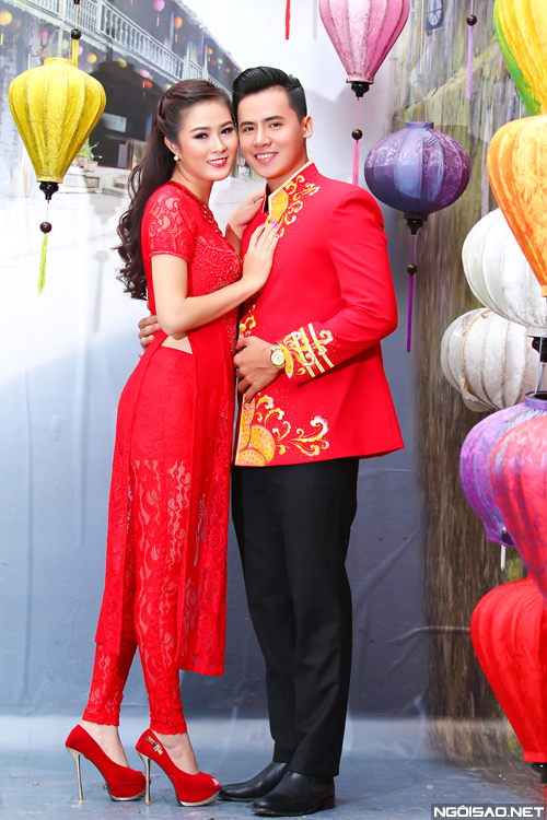 Mix áo dài cưới sắc đỏ trẻ trung cho cô dâu chú rể
