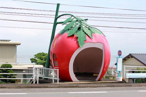 Những trạm xe buýt hình trái cây dễ thương ở Nhật Bản