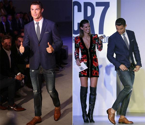 C. Ronaldo trong buổi giới thiệu bộ sưu tập giày thương hiệu CR7 tại quê nhà Bồ Đào Nha hôm qua.