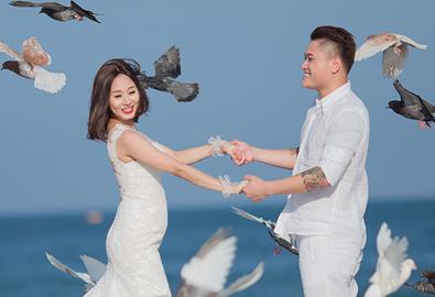 Vợ Vũ Duy Khánh vác bụng bầu 4 tháng chụp ảnh cưới