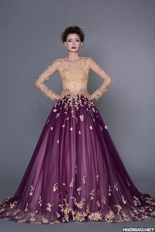 Hoàng Oanh cá tính với váy cưới tím cho mùa thu