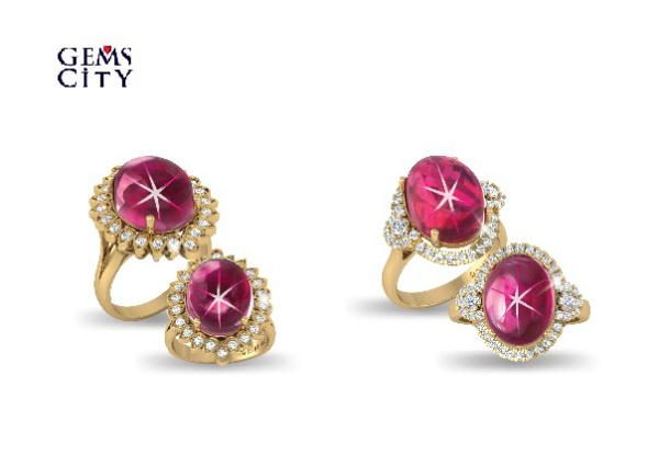 Anh7: Đặc biệt là Đá Ruby 6 cánh sao, màu sắc đỏ tươi do Tập đoàn DOJI trực tiếp khai thác, chế tác trong những thiết kế thời trang sang trọng