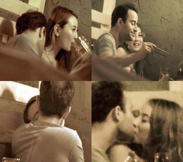 Tại một nhà hàng đồ Thái, cặp đôi vừa ăn vừa nồng nhiệt hôn nhau, chàng trai Tây còn có những cử chỉ âu yếm bạn gái rất táo bạo.