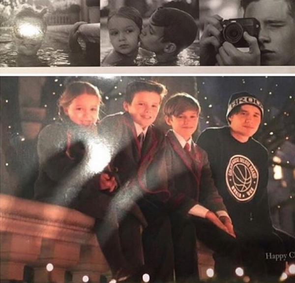 Bức ảnh 4 nhóc nhà Becks trong tấm thiệp mừng Giáng sinh