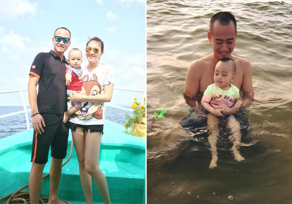 Gia đình Ngọc Thạch đang có kỳ nghỉ xả hơi ở Phú Quốc. Bé Ricky khá thích thú khi được bố cho tắm biển.