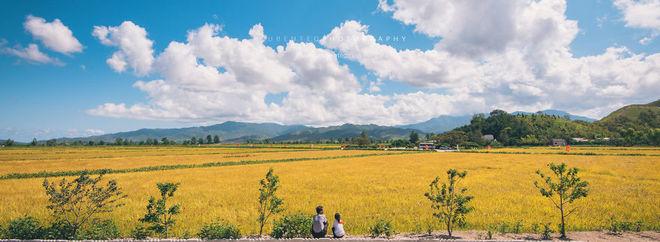 Cha và con ngồi trên cánh đồng của hợp tác xã Cheongsam.
