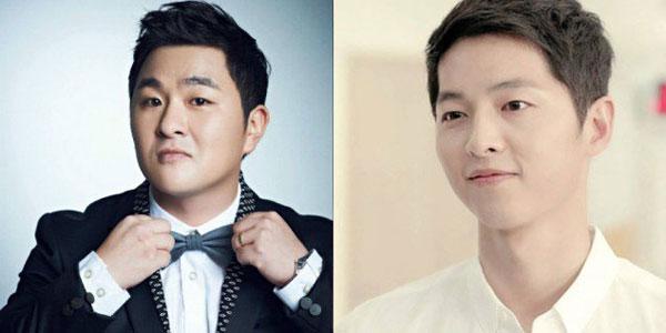 """Hai ngôi sao cùng tuổi 31:: Ca sĩ Huh Gak (ảnh trái) và tài tử """"Huệ duệ mặt trời"""" Song Joong Ki."""