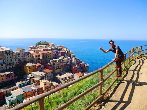 Anh Lâm ở Cinque Terre (Italy), gồm 5 làng chài xinh xắn, sặc sỡ sắc màu, dọc theo biển Liguria quyến rũ.