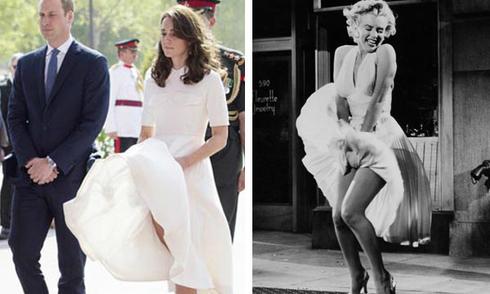 Kate bị gió thổi tốc váy giống hệt Marilyn Monroe