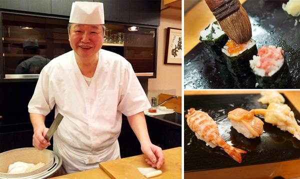 Chủ quán Susumu Yajima và các món sushi cầu kỳ của mình.