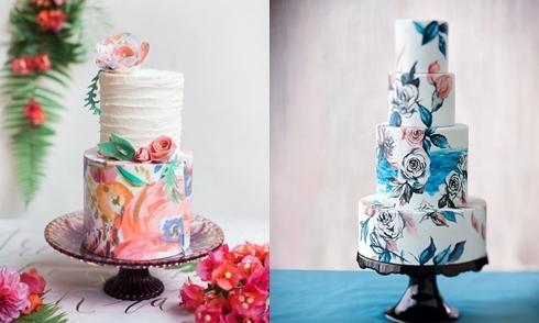 Bánh cưới vẽ tay đẹp như tranh cho tiệc cưới mùa hè