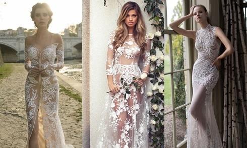 Váy cưới xuyên thấu giúp cô dâu khoe trọn đường cong