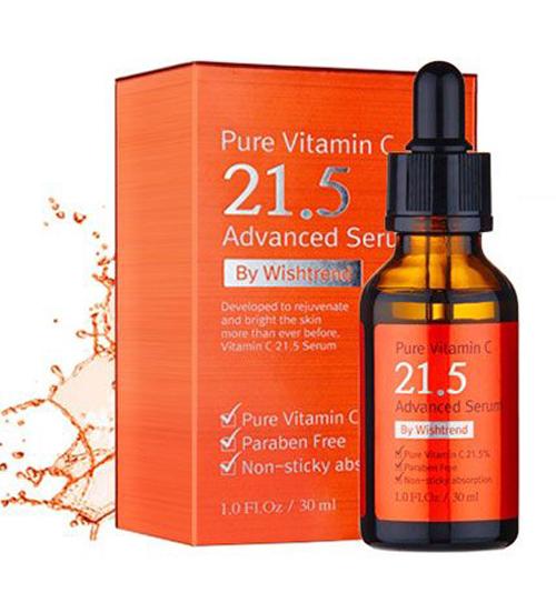 Pure Vitamin C21.5 Advanced Serum, Wishtrend C21.5 là dòng serum thường xuyên hết hàng trên website và luôn nằm trên kệ bán chạy nhất của Wishtrend. Trong số rất nhiều sản phẩm vitamin C trên thị trường, đây là một trong những dòng cô đặc nhất với hiệu quả rõ rệt nhất.  Giá: 25 USD  khoảng 560.000 đồng