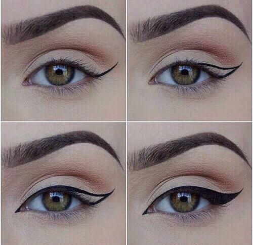 2. Khi muốn viền đuôi mắt đậm màu, hãy vẽ hai đường chéo, một từ mi mắt trên, một từ mi mắt dưới, tạo thành khung, sau đó, tô kín toàn bộ khung này để được đuôi mắt ấn tượng.
