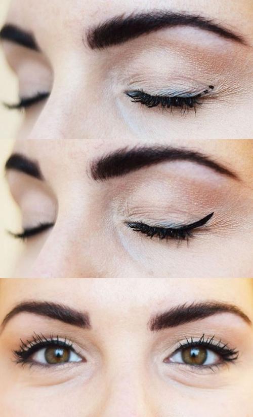 1. Để vẽ đuôi mắt chéo lên đẹp vừa đều, bạn hãy chấm sẵn 3 điểm nhỏ ở cả hai bên đuôi mắt, sau đó kẻ nối các điểm này lại.