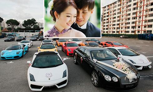 Đại gia Singapore đón dâu bằng 12 siêu xe Lamborghini