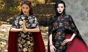 Đầm của Hoàng Thùy Linh copy thiết kế Phạm Băng Băng từng mặc