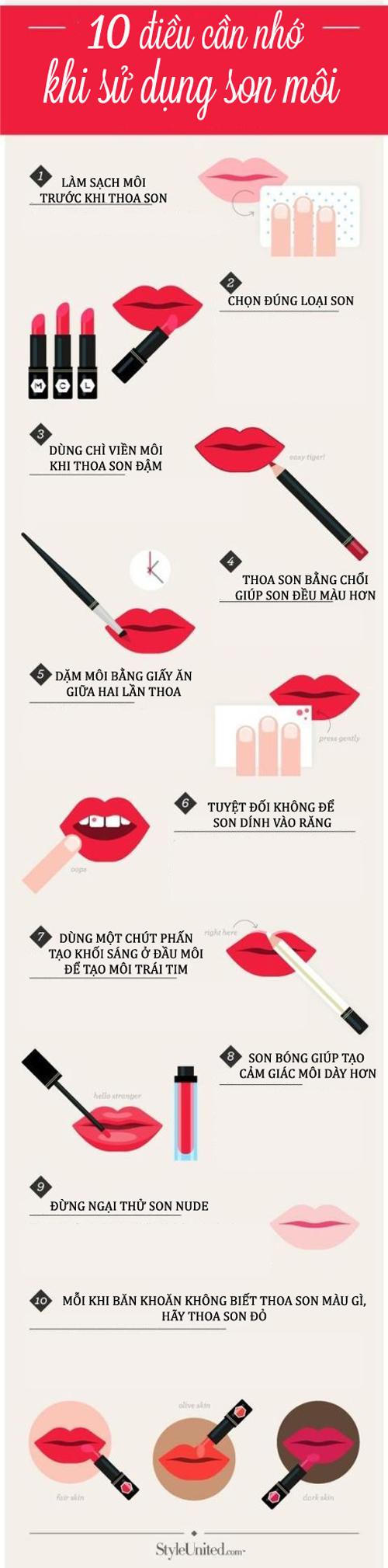 10 điều cần nhớ khi sử dụng son môi