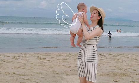 Ly 'Kute' hạnh phúc bên con trai trong kỳ nghỉ