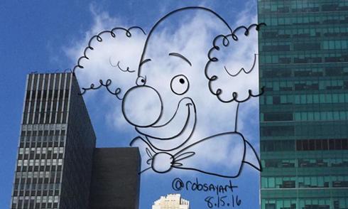 Họa sĩ đam mê vẽ tranh hoạt hình với những đám mây