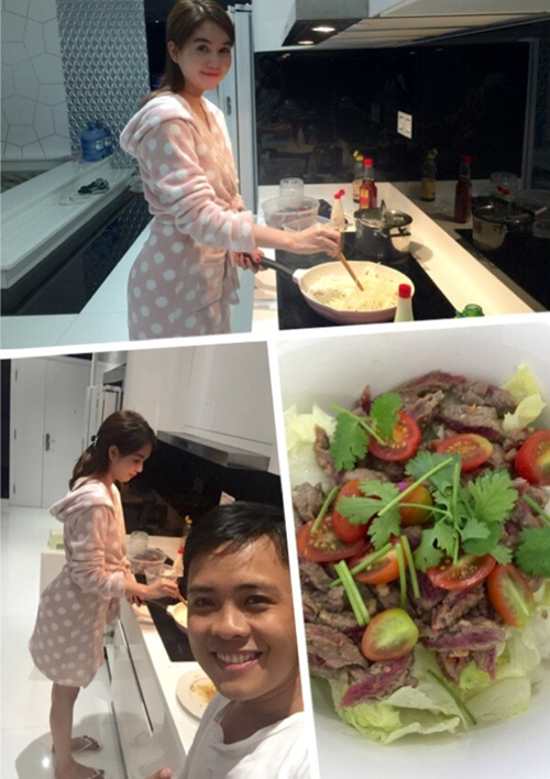 Ngọc Trinh đảm đang vào bếp nấu đồ ăn mời đồng nghiệp. Nhiếp anh gia của cô vui vẻ cho hay: Được người đẹp nấu cho ăn thì còn gì bằng.