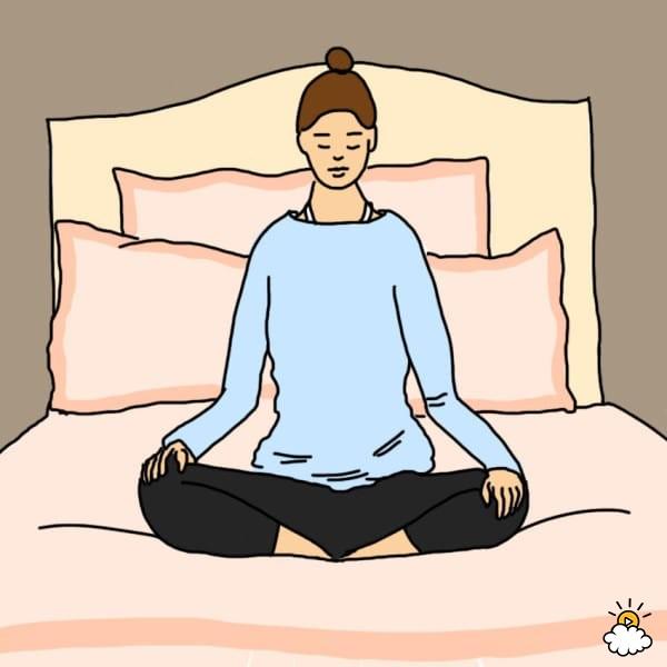 Động tác thiền ngồi xếp bằng thoải mái trên giường, thẳng lưng, cánh tay thư giãn, hít thở sâu 3 lần. Chỉ tập trung vào nhịp thở và không để bất cứ suy nghĩ nào làm vướng bận, đừng lo lắng nếu phải mất vài phút bạn mới tĩnh tâm được. Read more at http://ift.tt/2cvJvvj