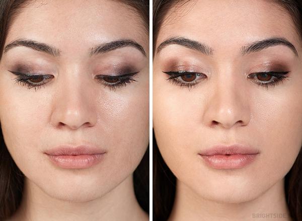 Ảnh trái: Sử dụng màu mắt Eye shadow $10, eyeliner $7.50, mascara $9. Ảnh phải: Sử dụng Eye shadow $46, eyeliner $32, mascara $29.