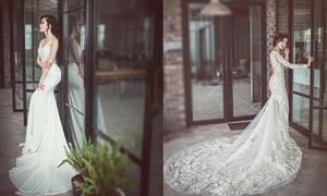 Váy cưới ren lãng mạn cho cô dâu mùa thu